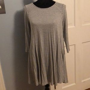 Altar'd state gray and white striped dress